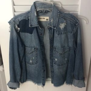 Distressed cropped jean shirt